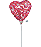 "4"" Airfill Only Valentine Plaid Foil Balloon"