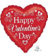 "28"" Happy Valentine's Day Fancy  Foil Balloon"
