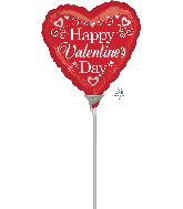 "4"" Airfill Only Happy Valentine's Day Fancy Foil Balloon"