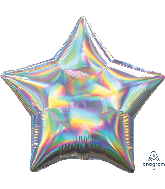 "18"" Iridescent Silver Star Foil Balloon"