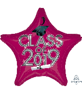 "18"" Class of 2019 - Berry Foil Balloon"