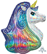"30"" Iridescent Rainbow Unicorn Holographic Foil Balloon"