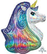 "30"" Iridescent Rainbow Unicorn Holographic Foil Balloon"