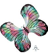 "30"" Iridescent Teal & Pink Butterfly Foil Balloon"