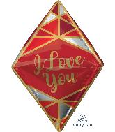 "25"" Love Lines Gem UltraShape Anglez Foil Balloon"