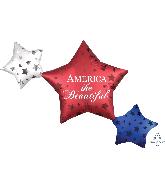 "39"" Satin Infused Patriotic Star Trio Foil Balloon"