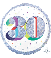 "18"" Holographic Jumbo Number Balloon Shape 30 Foil Balloon"