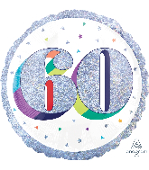 "18"" Holographic Jumbo Number Balloon Shape 60 Foil Balloon"