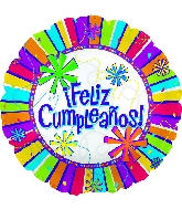 "17"" Feliz Cumpleanos Burst Of Colors  Balloon"