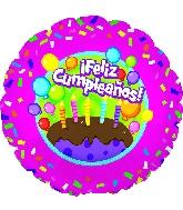 """17"""" Feliz Cumpleanos Cake Balloon"""