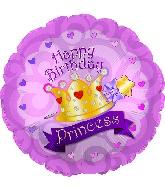 "17"" Happy Birthday Day Princess Crown Gems Balloon"