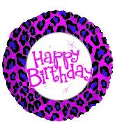 "17"" Happy Birthday Animal Print Balloon"