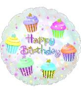 "17"" Happy Birthday Cupcakes Balloon"