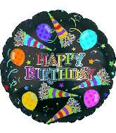 "17"" Rainbow Happy Birthday Day Party Horns Balloon"