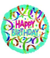 "18"" Happy Birthday Blue Swirled Ribbon"