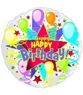 """18"""" Happy Birthday Starburst Balloons"""