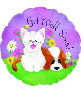 """17"""" Get Well Kitten & Puppy Foil Balloon"""