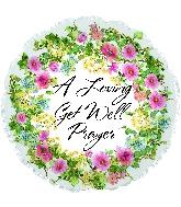 """17"""" Get Well Floral Prayer Foil Balloon"""