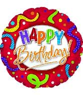 "18"" Happy Birthday Red, Stripes & Dots Balloon"