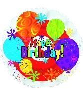 "18"" Happy Birthday Bright Mylar Balloon"