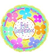 """18"""" Feliz Cumpleanos Pastel Flowers"""