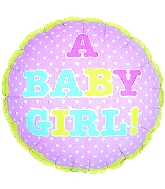 """9"""" Airfill A Baby Girl Tiny Hearts"""