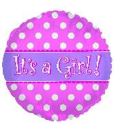 "9"" Airfill Its A Girl Dots Balloon"