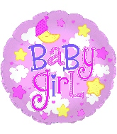 """24"""" Baby Girl Clouds Foil Balloon"""