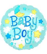 "24"" Baby Boy Clouds Foil Balloon"