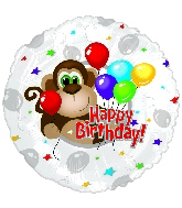 "4.5"" Airfill Monkey Around Happy Birthday Day Balloon"