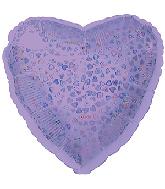 """18"""" Lavender Heart Pattern Dazzleloon Balloon"""