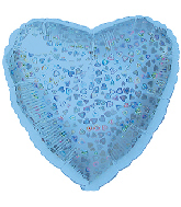 "18"" Light Blue Heart Pattern Dazzleloon Balloon"
