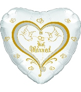 "17"" Just Married Doves Balloon"