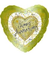 """18"""" Happy Aniversary Gold Hearts"""