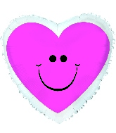 "9"" Airfill Pink Smiley Hearts"