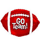 "10"" Airfill Only Go Team Red Football Mini-Shape Balloon"