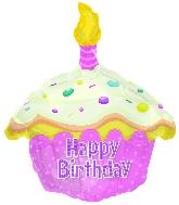 "17"" Happy Birthday Day Pink Cupcake Shape Balloon"