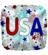 "9"" Airfill Only USA Fireworks Cube Foil Balloon"