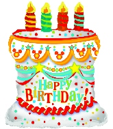 "28"" White Happy Birthday Day Cake Shape Balloon"