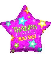 "18"" Thanks Pink Star Balloon"