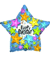 """9"""" Airfill Only Foil Balloon Happy Birthday Stars Primary"""
