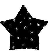 "18"" Black Sparkle Star Foil Balloon"