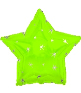 "18"" Lime Green Sparkle Star Foil Balloon"
