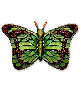 "38"" Jumbo Foil Shaped Balloon Royal Butterfly Green"