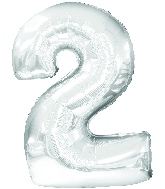 """30"""" Jumbo Number """"2"""" Silver Balloon Packaged"""