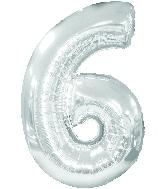 "34"" Jumbo Number #6 - Silver Foil Balloon"