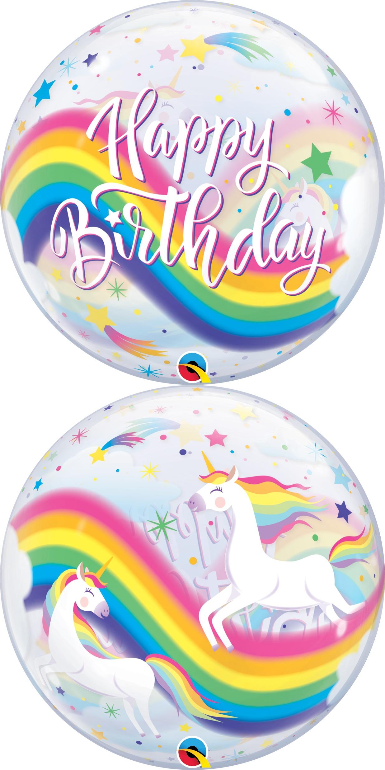 """22"""" Birthday Rainbow Unicorns Bubble Balloon"""
