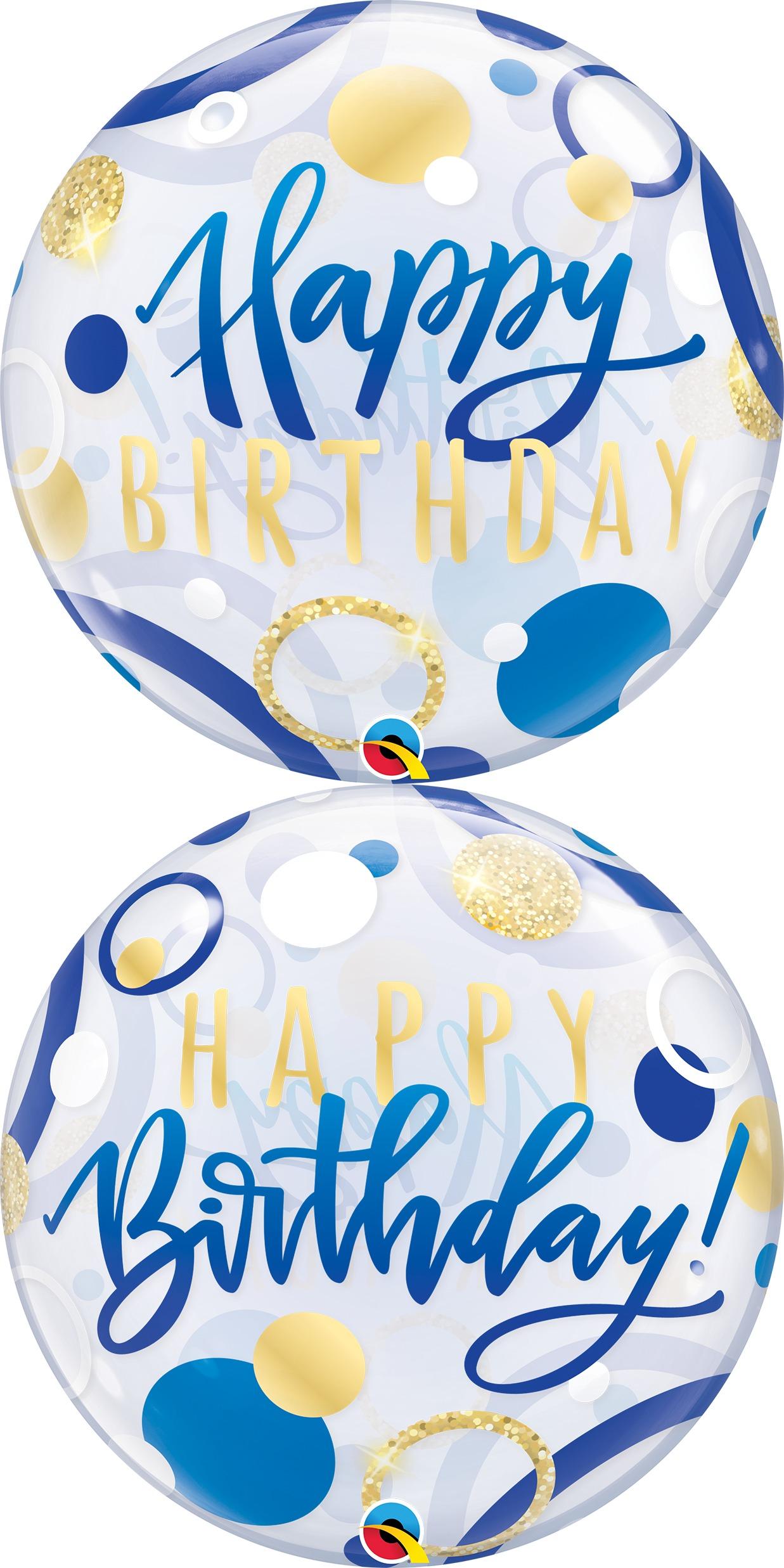 "22"" Birthday Blue & Gold Dots Bubble Balloon"