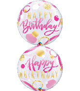 "22"" Birthday Pink & Gold Dots Bubble Balloon"