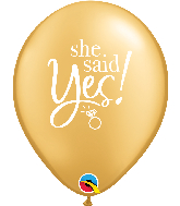 "11"" She Said Yes! Gold Latex Balloons"